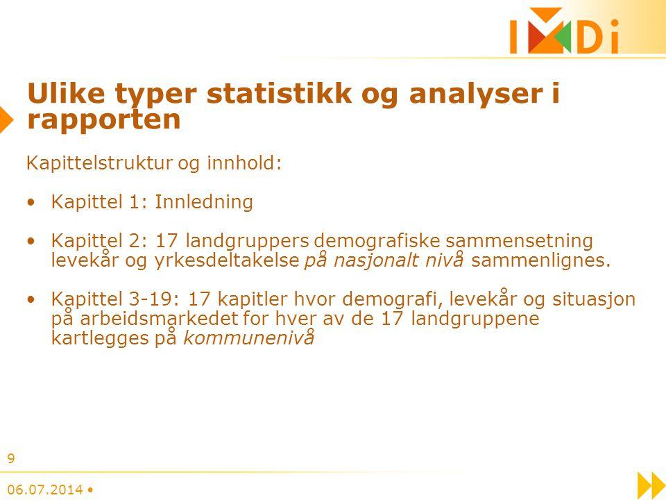 Ulike typer statistikk og analyser i rapporten Kapittelstruktur og innhold: Kapittel 1: Innledning Kapittel 2: 17 landgruppers demografiske sammensetn