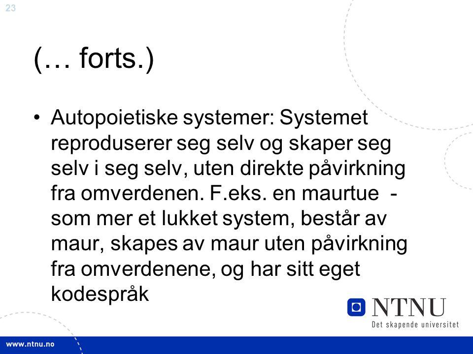 24 (… forts.) Systemer har sitt eget system-/ kodespråk («stammespråk») som det forstår seg selv og omverden ut fra Systemer defineres av grenser mellom systemet og omverdenen.