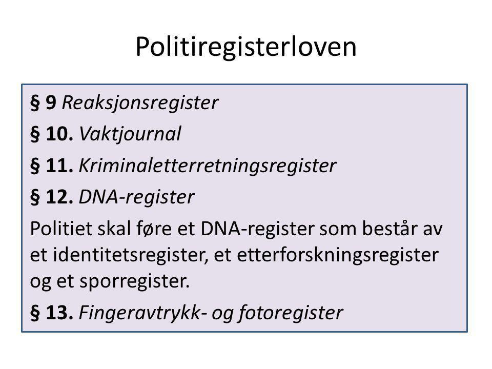 Politiregisterloven § 9 Reaksjonsregister § 10. Vaktjournal § 11.