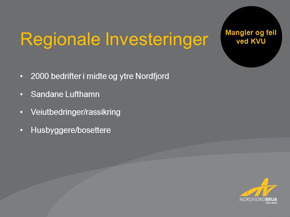 Mangler og feil ved KVU 2000 bedrifter i midte og ytre Nordfjord Sandane Lufthamn Veiutbedringer/rassikring Husbyggere/bosettere Regionale Investeringer
