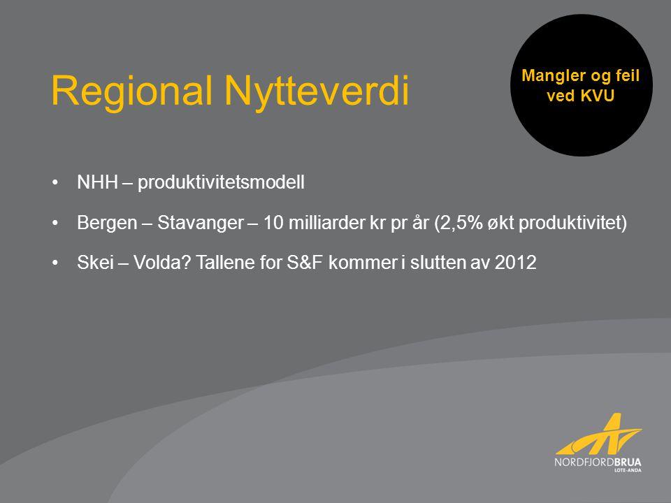 Mangler og feil ved KVU NHH – produktivitetsmodell Bergen – Stavanger – 10 milliarder kr pr år (2,5% økt produktivitet) Skei – Volda.