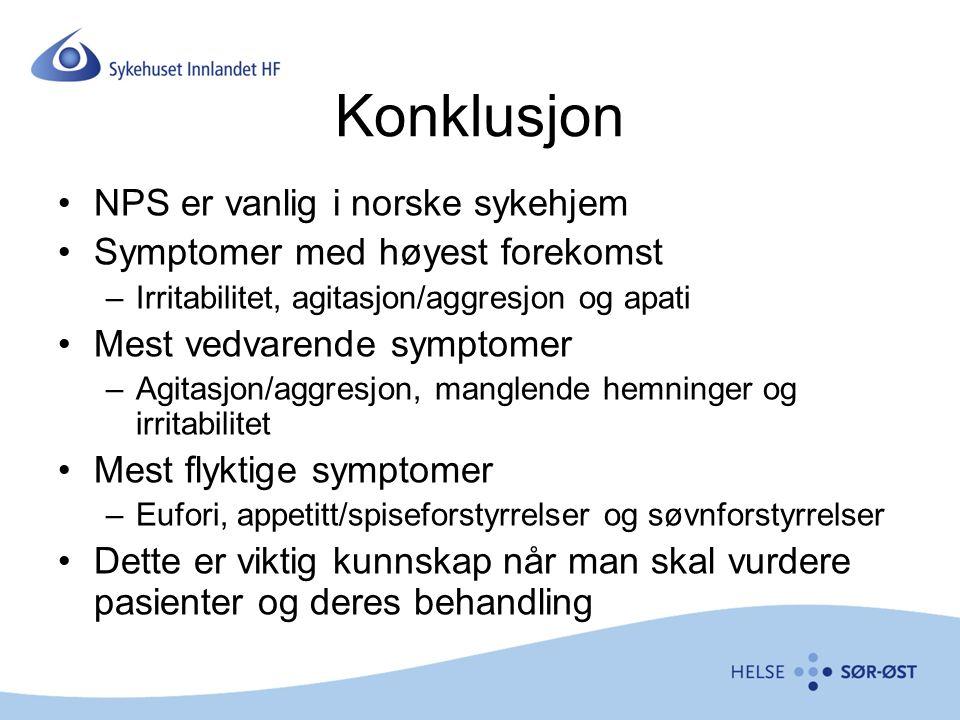 Konklusjon NPS er vanlig i norske sykehjem Symptomer med høyest forekomst –Irritabilitet, agitasjon/aggresjon og apati Mest vedvarende symptomer –Agit