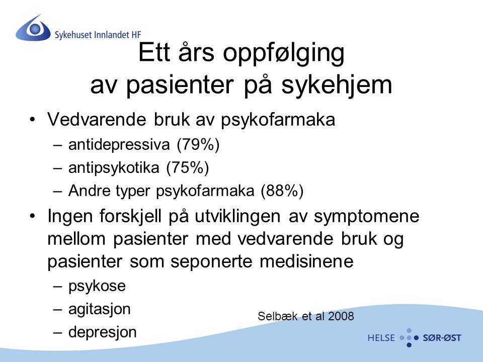 Ett års oppfølging av pasienter på sykehjem Vedvarende bruk av psykofarmaka –antidepressiva (79%) –antipsykotika (75%) –Andre typer psykofarmaka (88%)