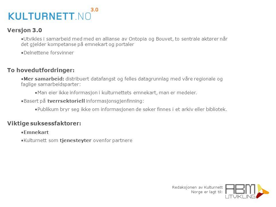 Redaksjonen av Kulturnett Norge er lagt til: Versjon 3.0 Utvikles i samarbeid med med en allianse av Ontopia og Bouvet, to sentrale aktører når det gj