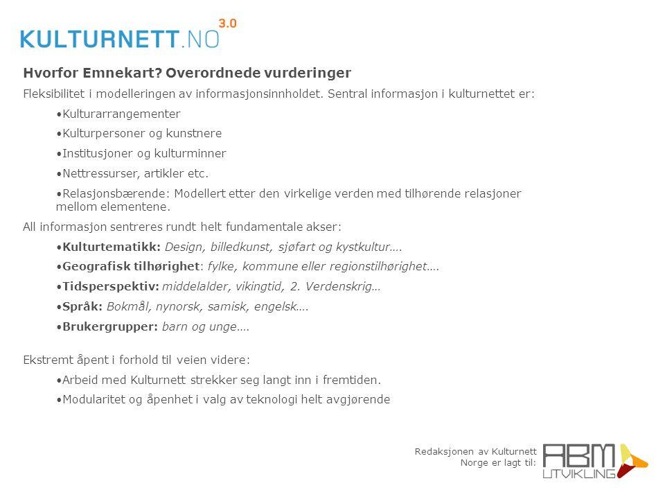 Redaksjonen av Kulturnett Norge er lagt til: Hvorfor Emnekart? Overordnede vurderinger Fleksibilitet i modelleringen av informasjonsinnholdet. Sentral