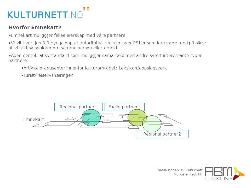 Redaksjonen av Kulturnett Norge er lagt til: Hvorfor Emnekart? Emnekart muliggjør felles eierskap med våre partnere Vi vil i versjon 3.0 bygge opp et