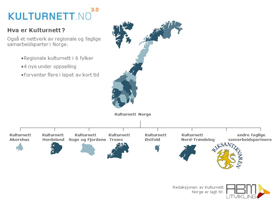 Redaksjonen av Kulturnett Norge er lagt til: Hva er Kulturnett ? Også et nettverk av regionale og faglige samarbeidsparter i Norge. Regionale kulturne