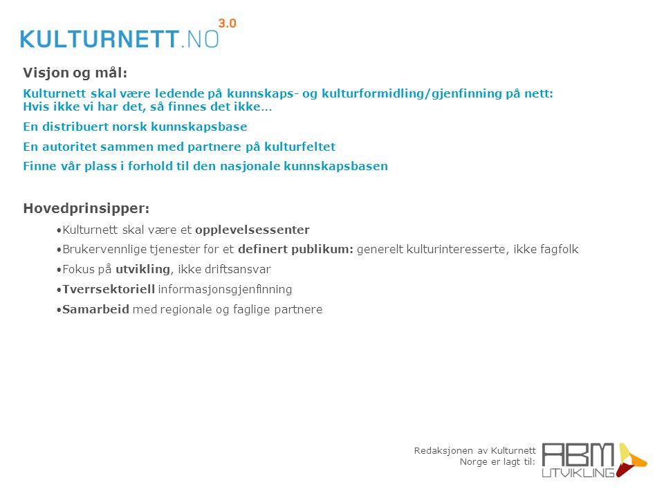 Redaksjonen av Kulturnett Norge er lagt til: Visjon og mål: Kulturnett skal være ledende på kunnskaps- og kulturformidling/gjenfinning på nett: Hvis i