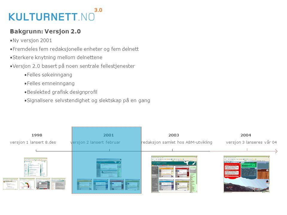 Redaksjonen av Kulturnett Norge er lagt til: Bakgrunn: Versjon 2.0 Ny versjon 2001 Fremdeles fem redaksjonelle enheter og fem delnett Sterkere knytnin