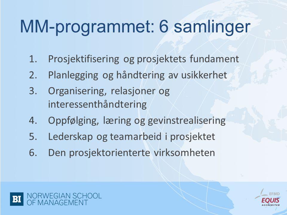 1.Prosjektifisering og prosjektets fundament 2.Planlegging og håndtering av usikkerhet 3.Organisering, relasjoner og interessenthåndtering 4.Oppfølging, læring og gevinstrealisering 5.Lederskap og teamarbeid i prosjektet 6.Den prosjektorienterte virksomheten MM-programmet: 6 samlinger