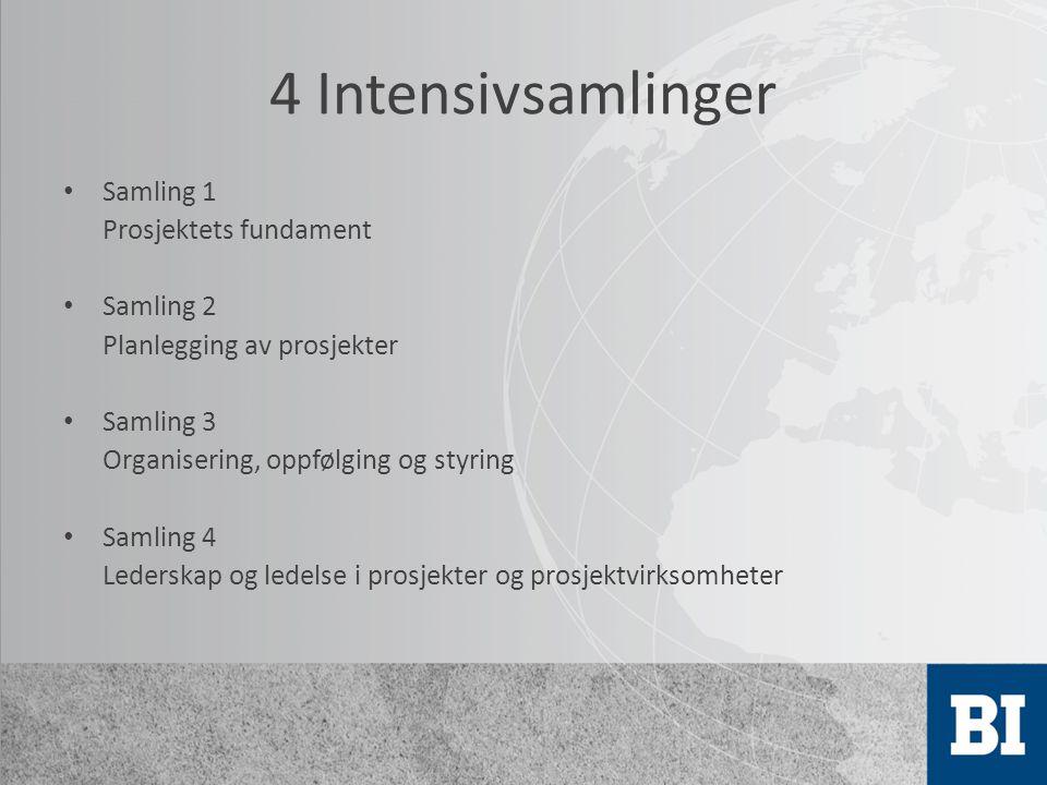 4 Intensivsamlinger Samling 1 Prosjektets fundament Samling 2 Planlegging av prosjekter Samling 3 Organisering, oppfølging og styring Samling 4 Leders