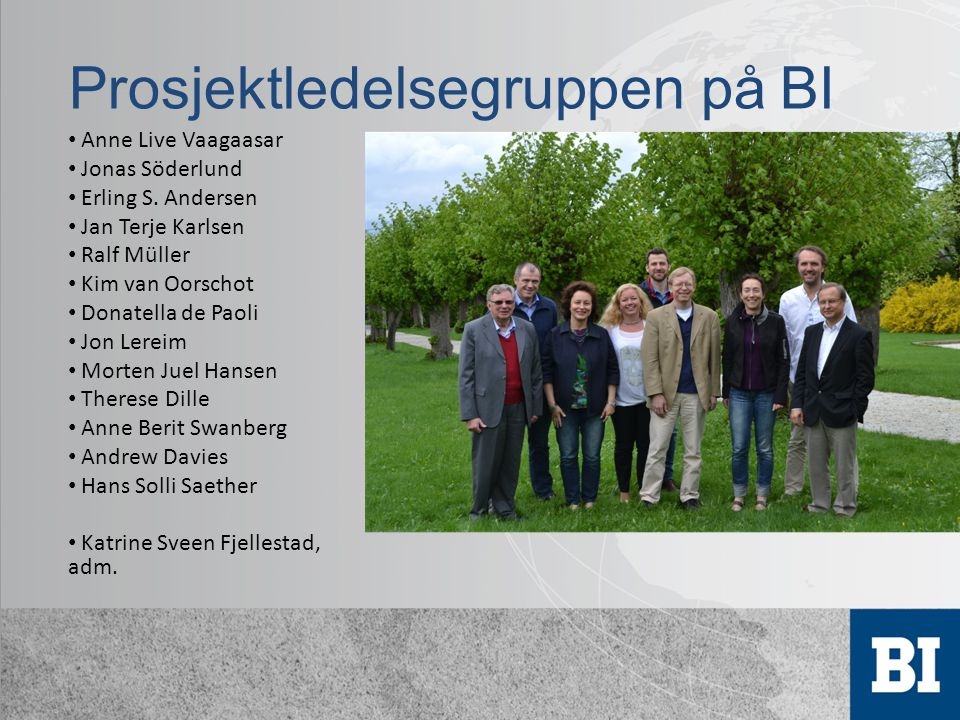 Prosjektledelsegruppen på BI Anne Live Vaagaasar Jonas Söderlund Erling S.