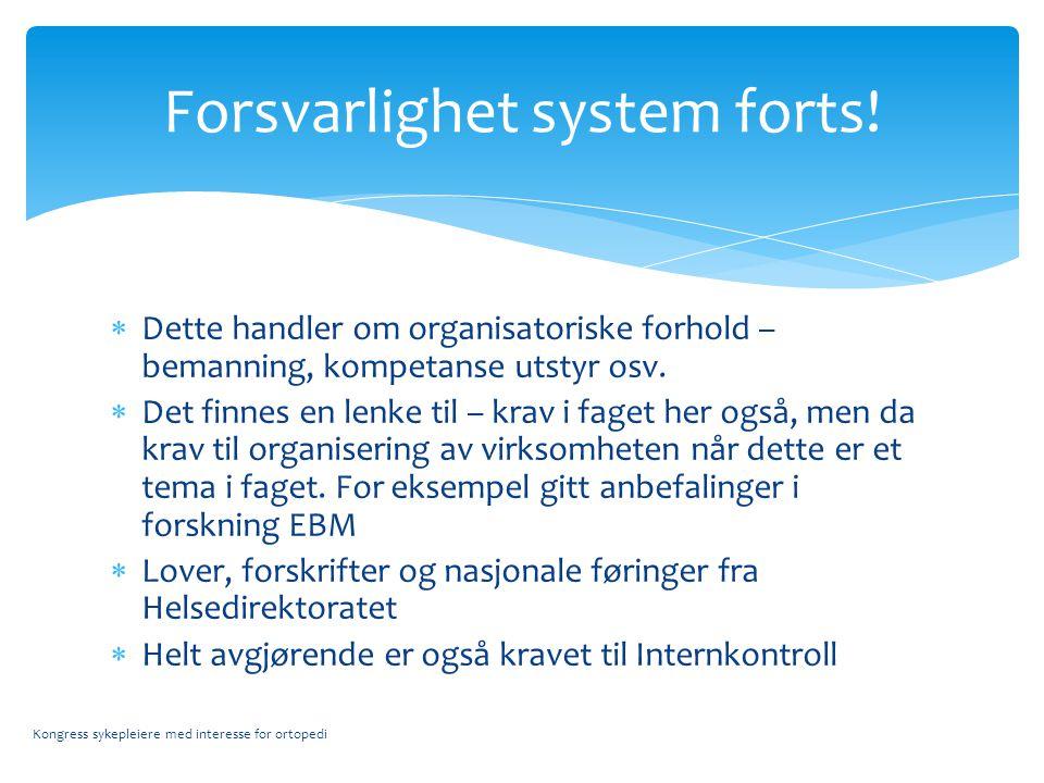  Dette handler om organisatoriske forhold – bemanning, kompetanse utstyr osv.