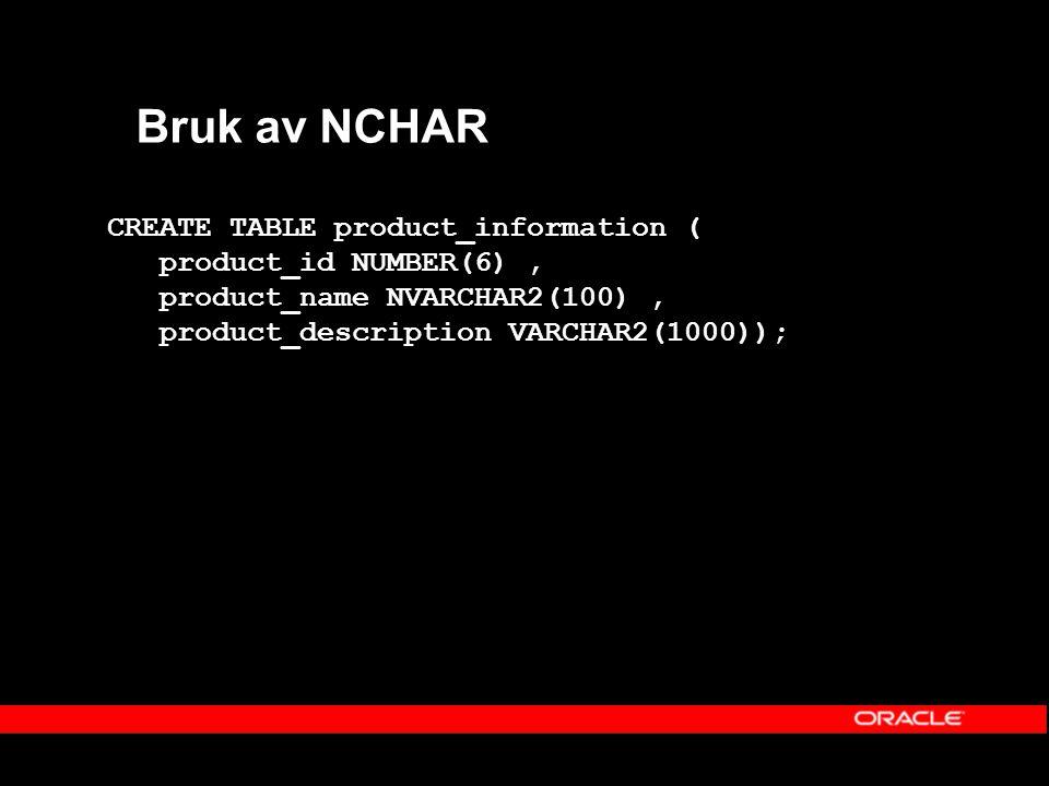 Bruk av NCHAR CREATE TABLE product_information ( product_id NUMBER(6), product_name NVARCHAR2(100), product_description VARCHAR2(1000));