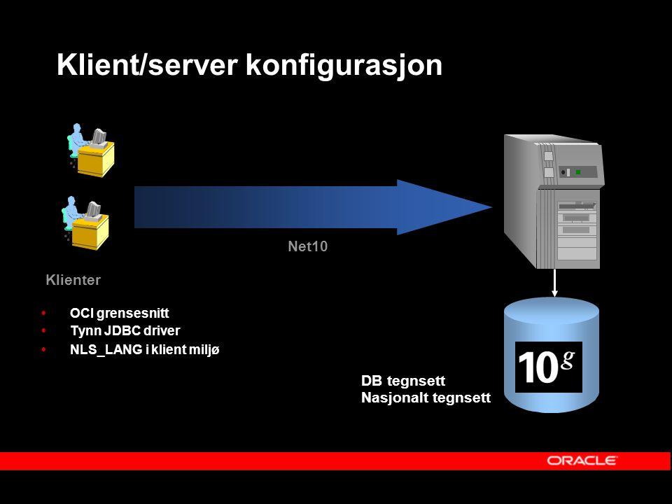Klient/server konfigurasjon  OCI grensesnitt  Tynn JDBC driver  NLS_LANG i klient miljø Klienter Net10 DB tegnsett Nasjonalt tegnsett