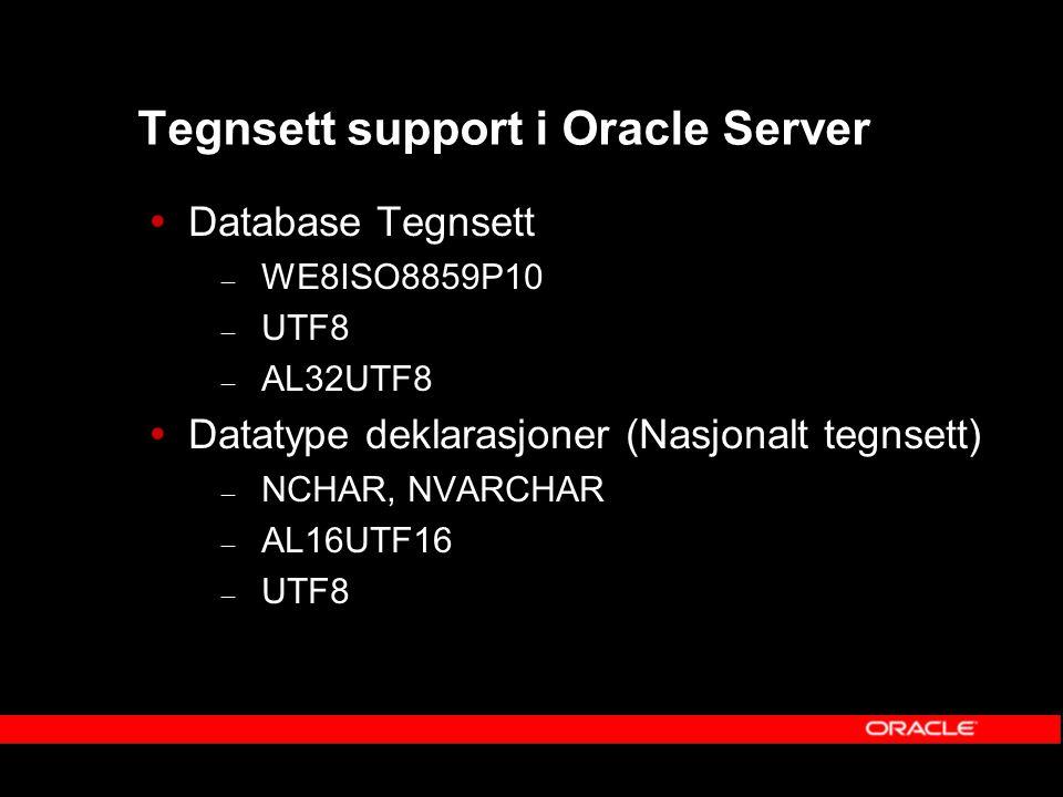 Tegnsett support i Oracle Server  Database Tegnsett – WE8ISO8859P10 – UTF8 – AL32UTF8  Datatype deklarasjoner (Nasjonalt tegnsett) – NCHAR, NVARCHAR – AL16UTF16 – UTF8