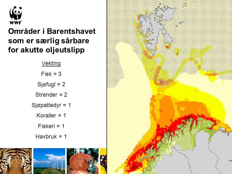 Områder i Barentshavet som er særlig sårbare for akutte oljeutslipp Vekting Fisk = 3 Sjøfugl = 2 Strender = 2 Sjøpattedyr = 1 Koraller = 1 Fiskeri = 1