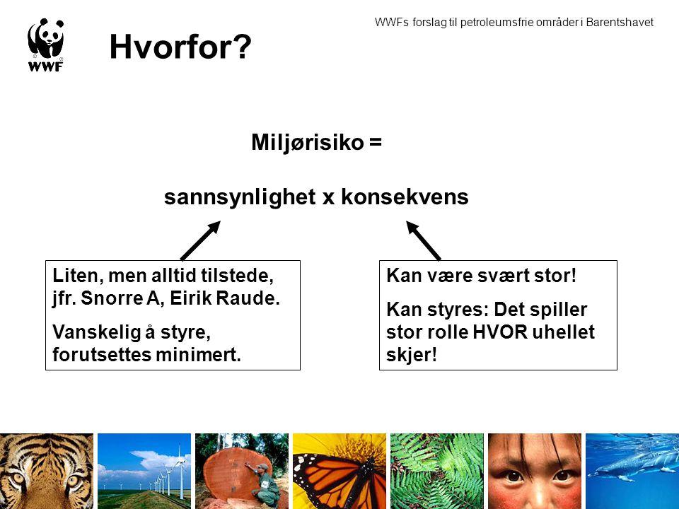 Hvorfor? Miljørisiko = sannsynlighet x konsekvens Liten, men alltid tilstede, jfr. Snorre A, Eirik Raude. Vanskelig å styre, forutsettes minimert. Kan