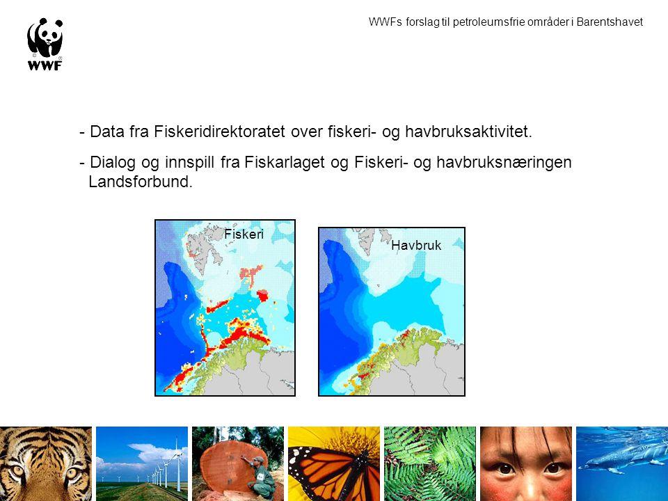 - Data fra Fiskeridirektoratet over fiskeri- og havbruksaktivitet. - Dialog og innspill fra Fiskarlaget og Fiskeri- og havbruksnæringen Landsforbund.