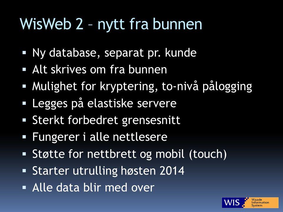 WisWeb 2 – nytt fra bunnen  Ny database, separat pr.