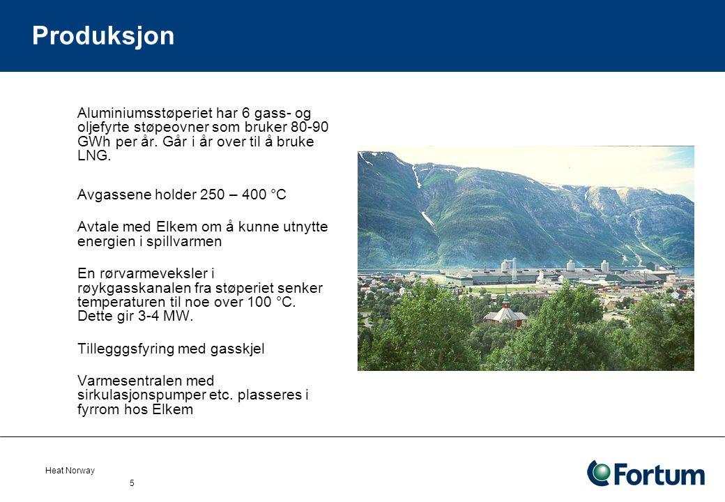 Heat Norway 5 Produksjon Aluminiumsstøperiet har 6 gass- og oljefyrte støpeovner som bruker 80-90 GWh per år.