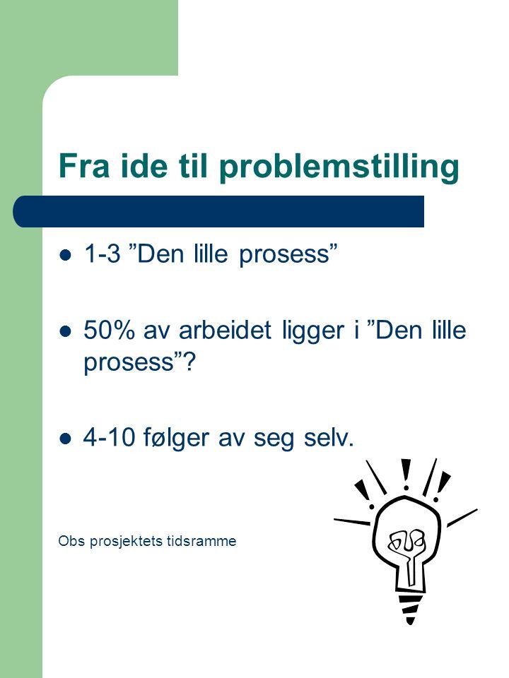 """Fra ide til problemstilling 1-3 """"Den lille prosess"""" 50% av arbeidet ligger i """"Den lille prosess""""? 4-10 følger av seg selv. Obs prosjektets tidsramme"""