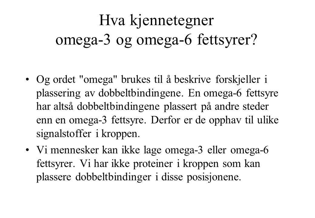 Hva kjennetegner omega-3 og omega-6 fettsyrer.