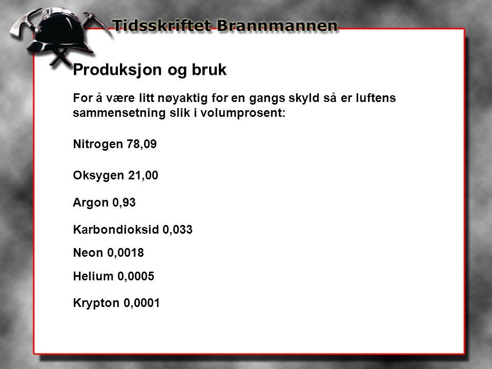 Produksjon og bruk For å være litt nøyaktig for en gangs skyld så er luftens sammensetning slik i volumprosent: Nitrogen 78,09 Oksygen 21,00 Argon 0,9