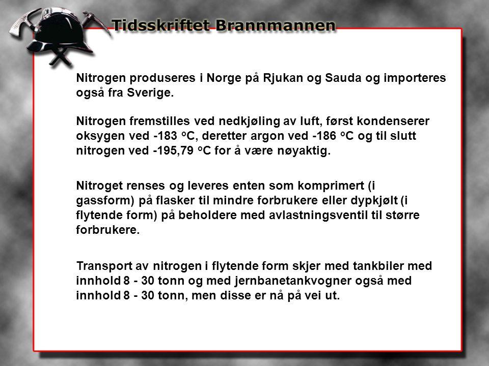 Nitrogen produseres i Norge på Rjukan og Sauda og importeres også fra Sverige. Nitrogen fremstilles ved nedkjøling av luft, først kondenserer oksygen