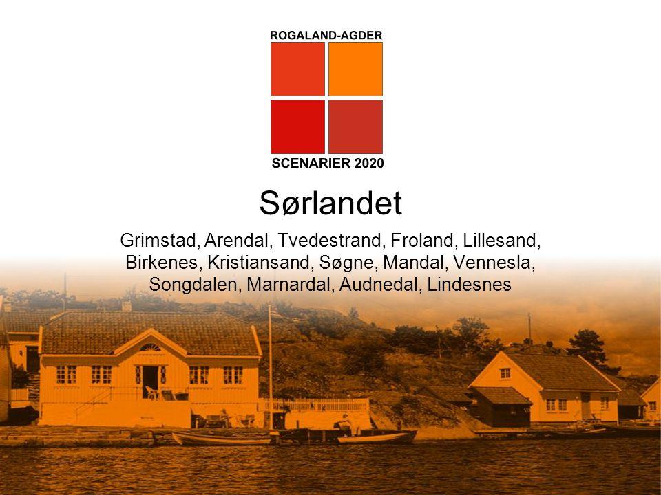 Sørlandet Grimstad, Arendal, Tvedestrand, Froland, Lillesand, Birkenes, Kristiansand, Søgne, Mandal, Vennesla, Songdalen, Marnardal, Audnedal, Lindesn