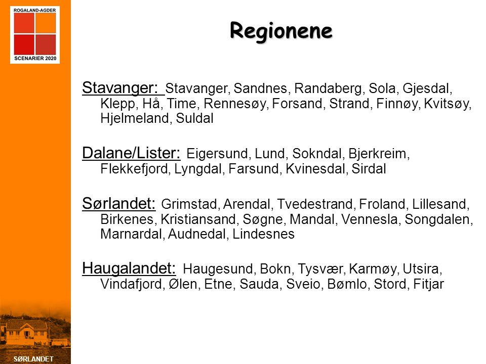 SØRLANDET Regionene Stavanger: Stavanger, Sandnes, Randaberg, Sola, Gjesdal, Klepp, Hå, Time, Rennesøy, Forsand, Strand, Finnøy, Kvitsøy, Hjelmeland, Suldal Dalane/Lister: Eigersund, Lund, Sokndal, Bjerkreim, Flekkefjord, Lyngdal, Farsund, Kvinesdal, Sirdal Sørlandet: Grimstad, Arendal, Tvedestrand, Froland, Lillesand, Birkenes, Kristiansand, Søgne, Mandal, Vennesla, Songdalen, Marnardal, Audnedal, Lindesnes Haugalandet: Haugesund, Bokn, Tysvær, Karmøy, Utsira, Vindafjord, Ølen, Etne, Sauda, Sveio, Bømlo, Stord, Fitjar