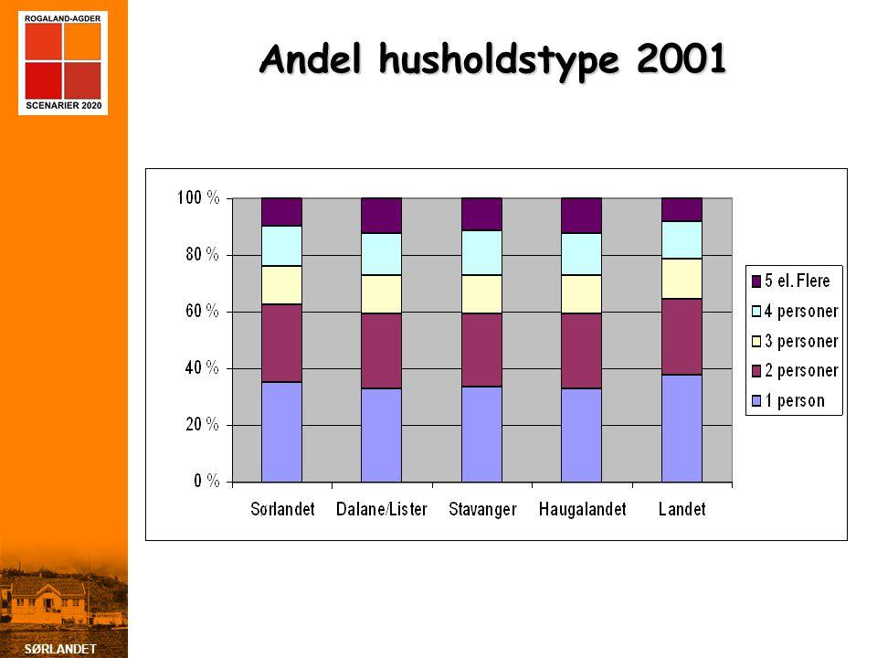 SØRLANDET Andel husholdstype 2001