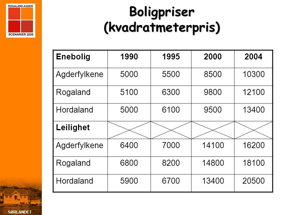 SØRLANDET Boligpriser (kvadratmeterpris) Enebolig1990199520002004 Agderfylkene50005500850010300 Rogaland51006300980012100 Hordaland50006100950013400 L