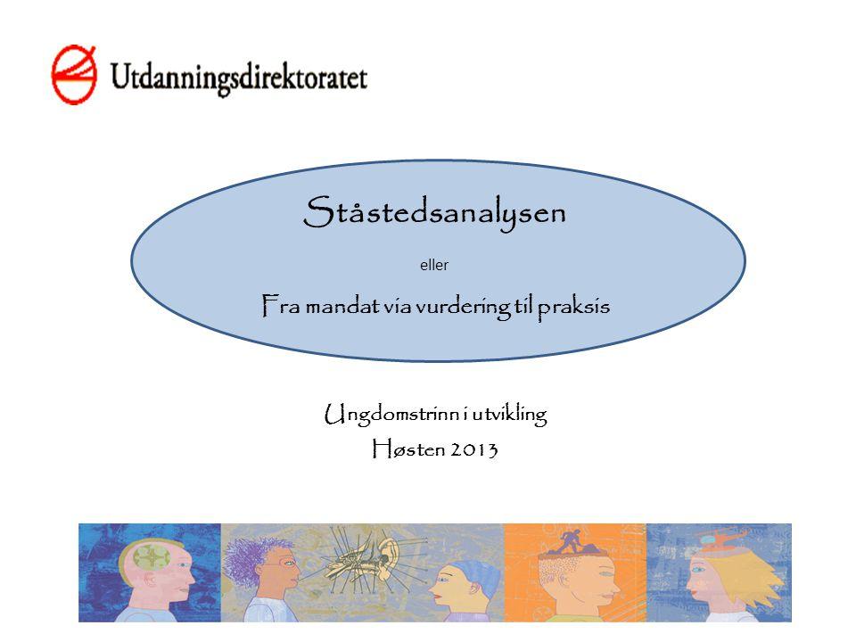 Ståstedsanalysen Utviklet i Kunnskapsløftet – fra ord til handling (K-FOTH) (2006-10) Bakgrunn i Hardanger-Voss-regionen Praktikere i samarbeid med U.dir.