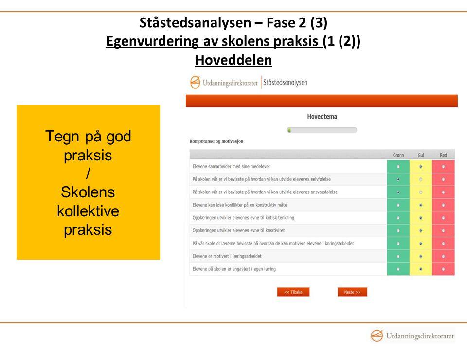 Tegn på god praksis / Skolens kollektive praksis Ståstedsanalysen – Fase 2 (3) Egenvurdering av skolens praksis (1 (2)) Hoveddelen