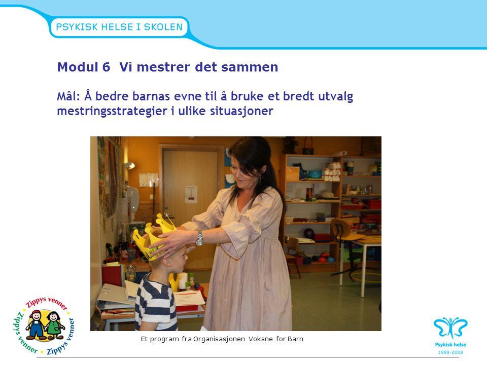 Modul 6 Vi mestrer det sammen Mål: Å bedre barnas evne til å bruke et bredt utvalg mestringsstrategier i ulike situasjoner Et program fra Organisasjon