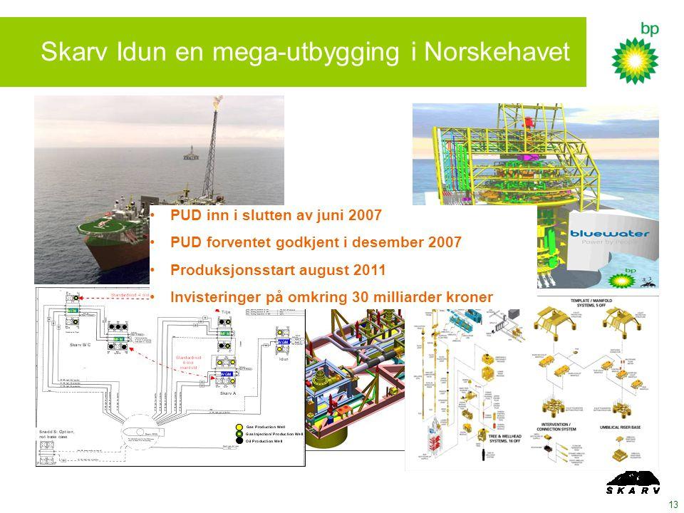 13 Skarv Idun en mega-utbygging i Norskehavet PUD inn i slutten av juni 2007 PUD forventet godkjent i desember 2007 Produksjonsstart august 2011 Invisteringer på omkring 30 milliarder kroner