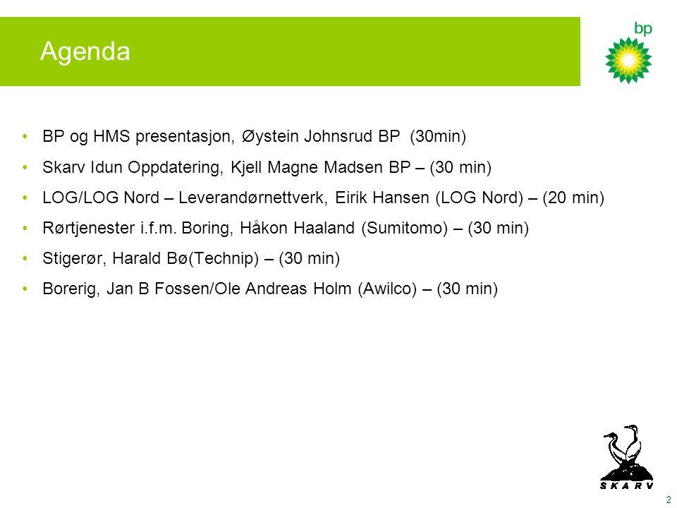 2 Agenda BP og HMS presentasjon, Øystein Johnsrud BP (30min) Skarv Idun Oppdatering, Kjell Magne Madsen BP – (30 min) LOG/LOG Nord – Leverandørnettverk, Eirik Hansen (LOG Nord) – (20 min) Rørtjenester i.f.m.