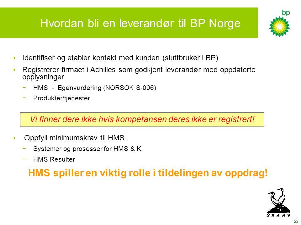 22 Hvordan bli en leverandør til BP Norge Identifiser og etabler kontakt med kunden (sluttbruker i BP) Registrerer firmaet i Achilles som godkjent leverandør med oppdaterte opplysninger − HMS - Egenvurdering (NORSOK S-006) − Produkter/tjenester Oppfyll minimumskrav til HMS.