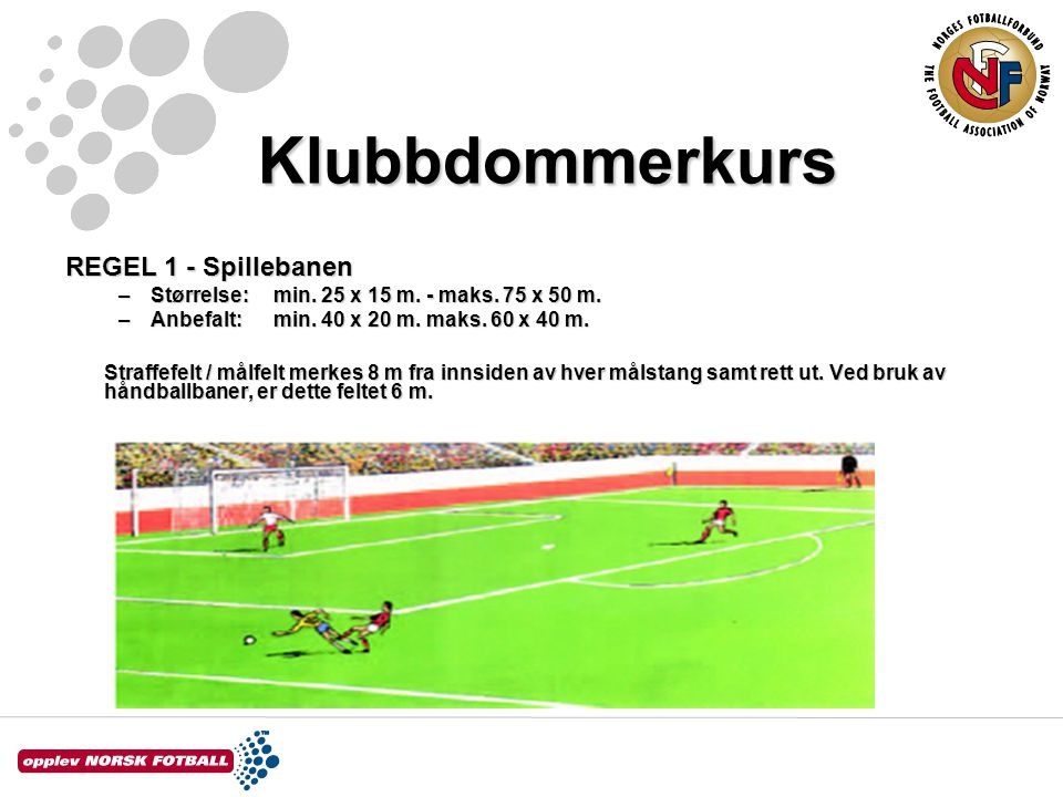 Klubbdommerkurs REGEL 1 - Spillebanen –Størrelse: min. 25 x 15 m. - maks. 75 x 50 m. –Anbefalt:min. 40 x 20 m. maks. 60 x 40 m. Straffefelt / målfelt