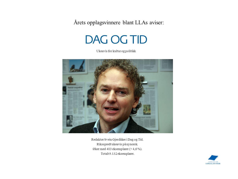 Årets opplagsvinnere blant LLAs aviser: Redaktør Svein Gjerdåker i Dag og Tid. Riksspredt ukeavis på nynorsk. Øker med 403 eksemplarer (+ 4,6 %). Tota