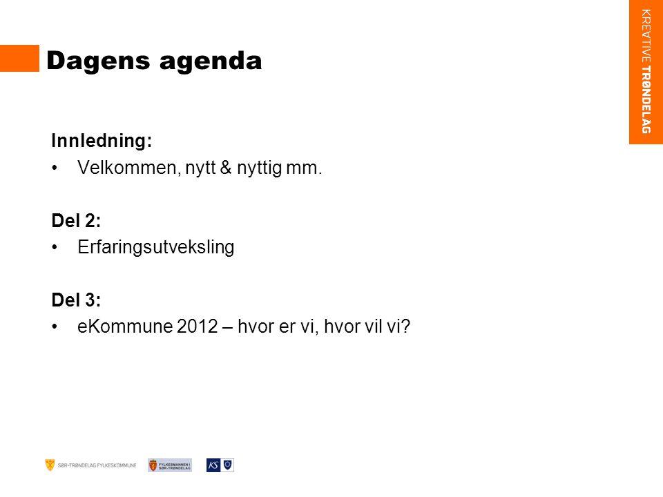 Dagens agenda Innledning: Velkommen, nytt & nyttig mm.