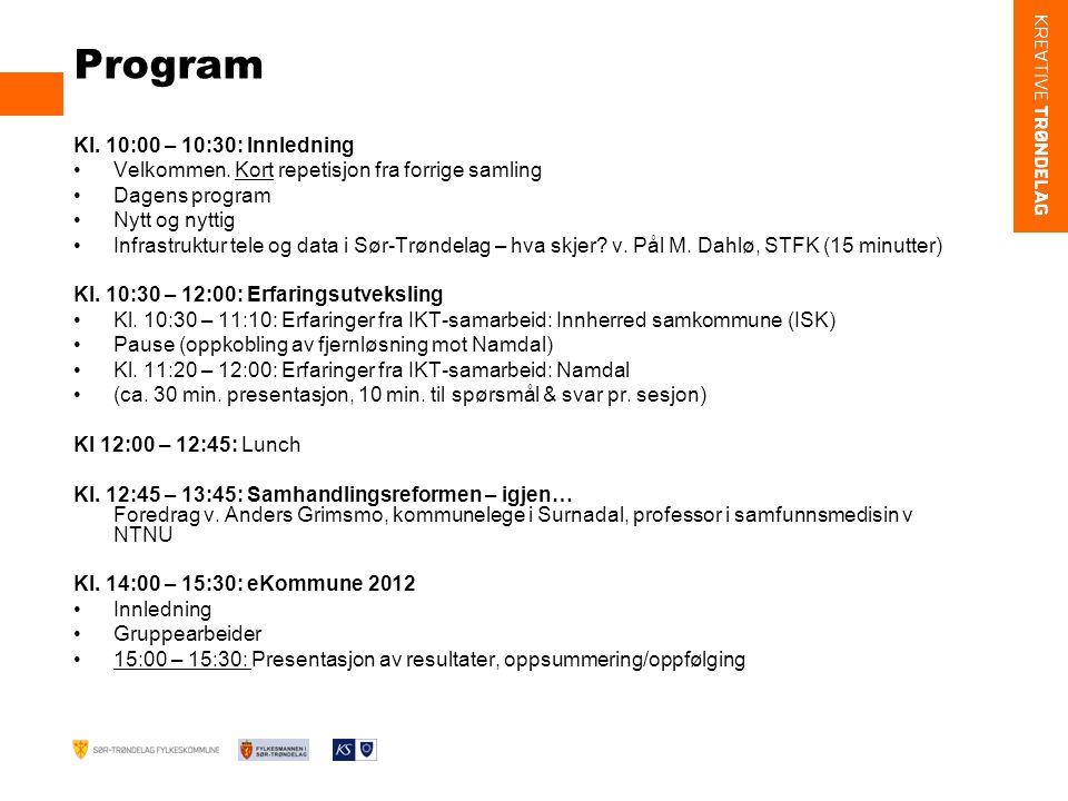 Program Kl.10:00 – 10:30: Innledning Velkommen.