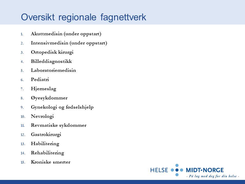 Oversikt regionale fagnettverk 1. Akuttmedisin (under oppstart) 2.