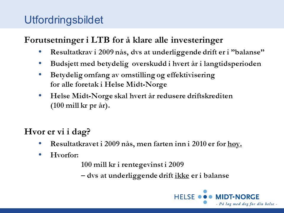 Utfordringsbildet Forutsetninger i LTB for å klare alle investeringer Resultatkrav i 2009 nås, dvs at underliggende drift er i balanse Budsjett med betydelig overskudd i hvert år i langtidsperioden Betydelig omfang av omstilling og effektivisering for alle foretak i Helse Midt-Norge Helse Midt-Norge skal hvert år redusere driftskrediten (100 mill kr pr år).