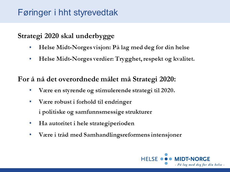 Føringer i hht styrevedtak Strategi 2020 skal underbygge Helse Midt-Norges visjon: På lag med deg for din helse Helse Midt-Norges verdier: Trygghet, respekt og kvalitet.