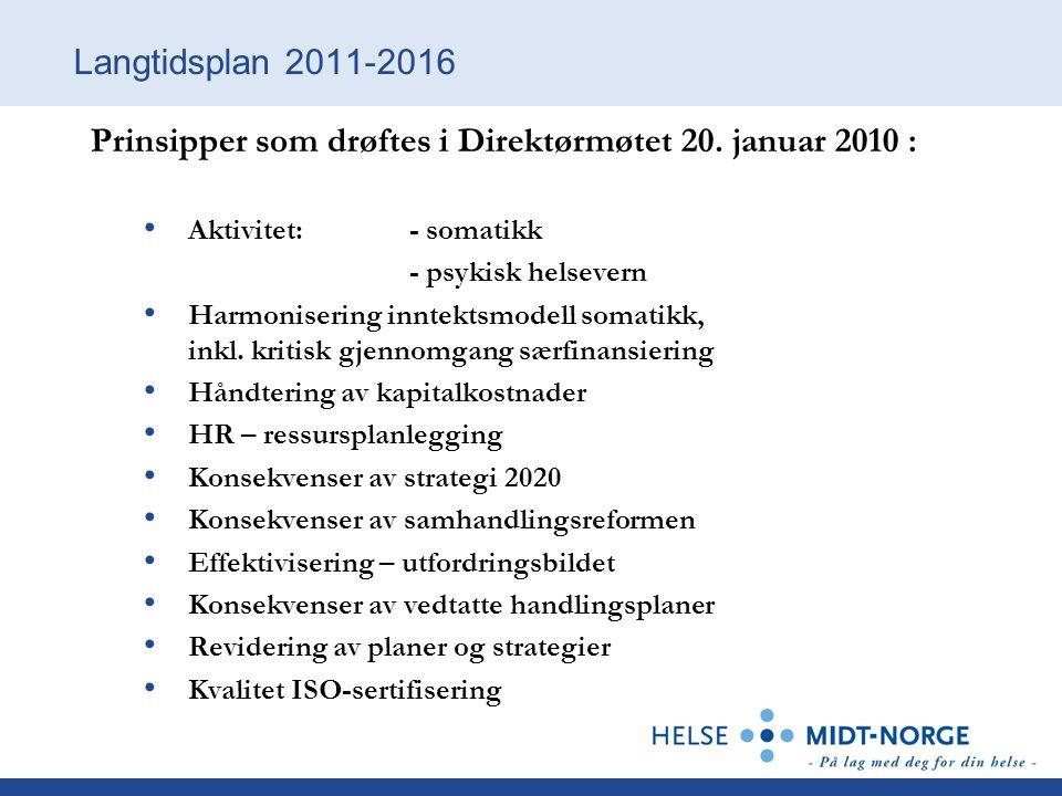 Langtidsplan 2011-2016 Prinsipper som drøftes i Direktørmøtet 20.