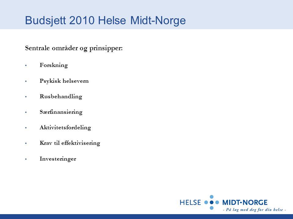 Budsjett 2010 Helse Midt-Norge Sentrale områder og prinsipper: Forskning Psykisk helsevern Rusbehandling Særfinansiering Aktivitetsfordeling Krav til effektivisering Investeringer