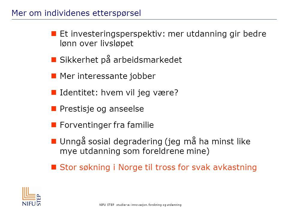 NIFU STEP studier av innovasjon, forskning og utdanning Marked, individuelle preferanser eller politikk.