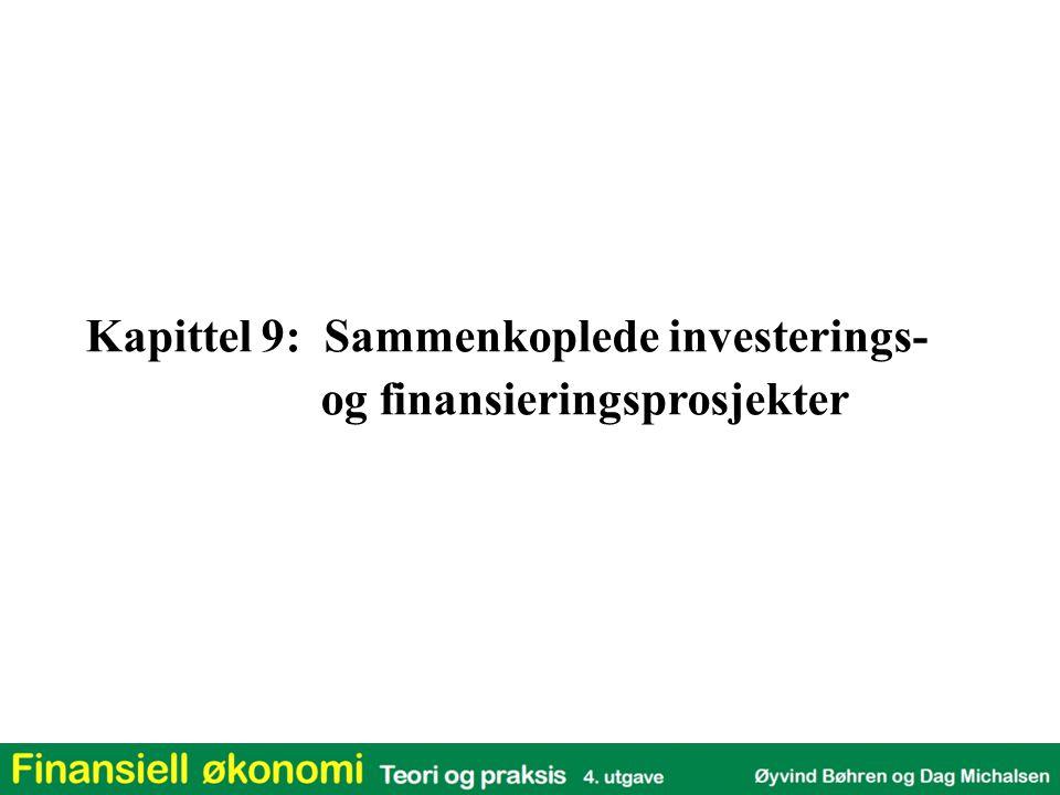 Kapittel 9: Oversikt 1.Investeringsrisiko 2.Gjeldskapasitet 3.Justert nåverdi 4.Totalkapitalmetoden 5.Egenkapitalmetoden 6.Sammenligning